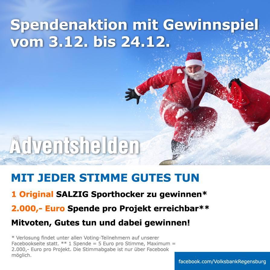 """Wir sind """"Adventshelden"""" der Volksbank Regensburg!"""